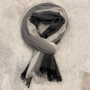 Black & White Lightweight Ombre Scarf/Wrap